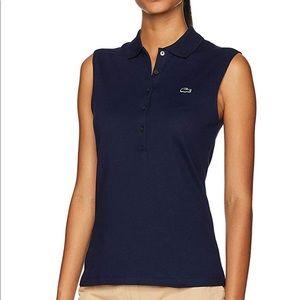 Lacoste sleeveless polo shirt women, navy blue.